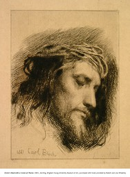 Christ's Head  with a Crown of Thorns, etching, 1881