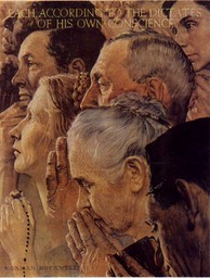 Four Freedoms Norman Rockwell Painting Freedom of Worship-1LG